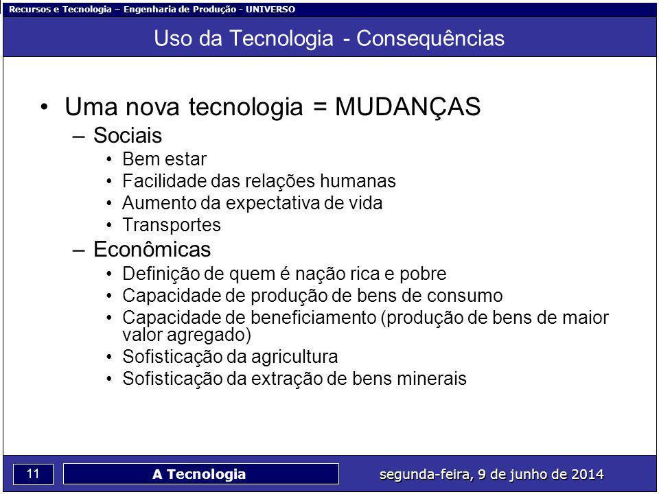Recursos e Tecnologia – Engenharia de Produção - UNIVERSO 11 segunda-feira, 9 de junho de 2014 A Tecnologia Uso da Tecnologia - Consequências Uma nova