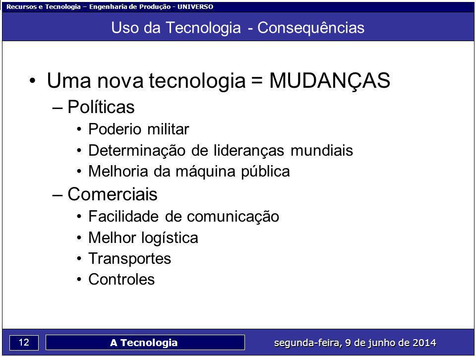 Recursos e Tecnologia – Engenharia de Produção - UNIVERSO 12 segunda-feira, 9 de junho de 2014 A Tecnologia Uso da Tecnologia - Consequências Uma nova