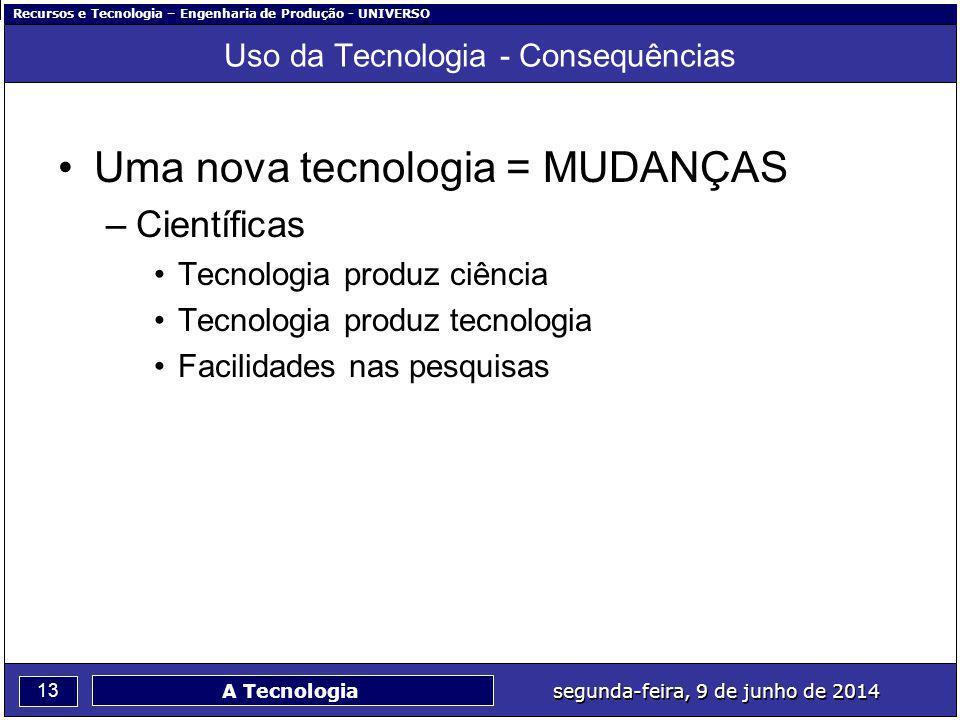 Recursos e Tecnologia – Engenharia de Produção - UNIVERSO 13 segunda-feira, 9 de junho de 2014 A Tecnologia Uso da Tecnologia - Consequências Uma nova