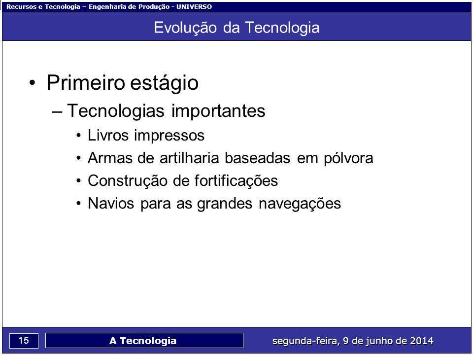 Recursos e Tecnologia – Engenharia de Produção - UNIVERSO 15 segunda-feira, 9 de junho de 2014 A Tecnologia Evolução da Tecnologia Primeiro estágio –T