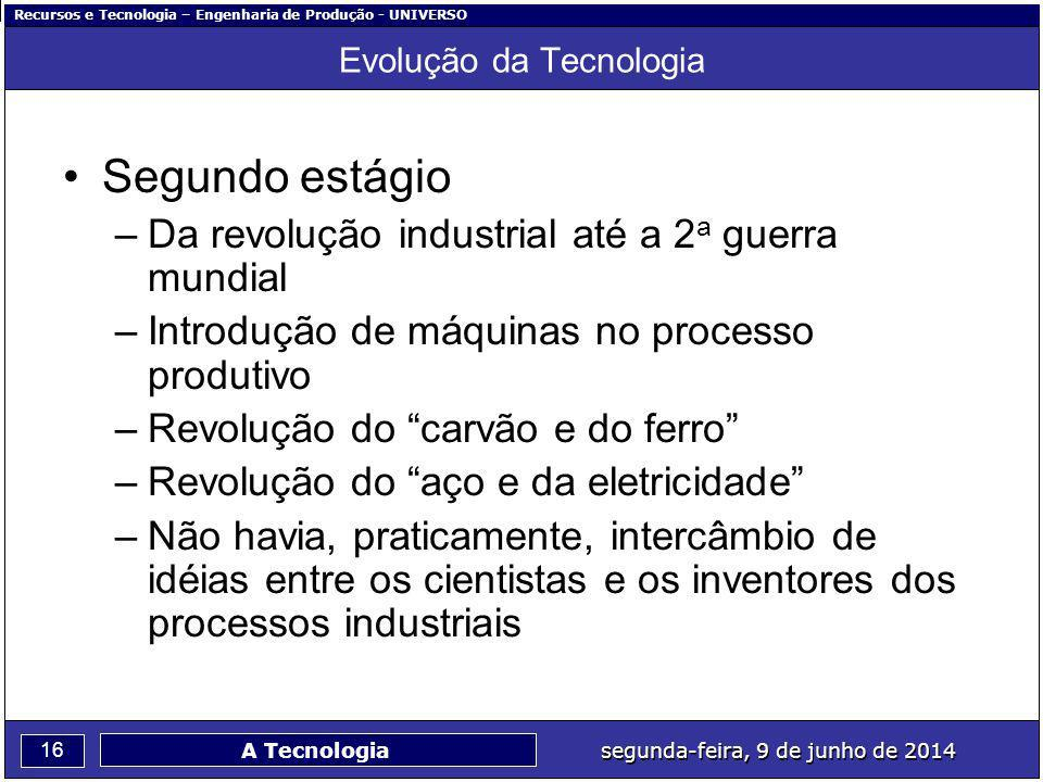 Recursos e Tecnologia – Engenharia de Produção - UNIVERSO 16 segunda-feira, 9 de junho de 2014 A Tecnologia Evolução da Tecnologia Segundo estágio –Da