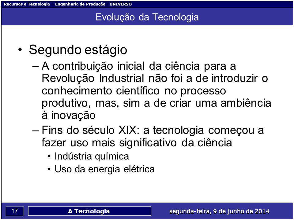 Recursos e Tecnologia – Engenharia de Produção - UNIVERSO 17 segunda-feira, 9 de junho de 2014 A Tecnologia Evolução da Tecnologia Segundo estágio –A