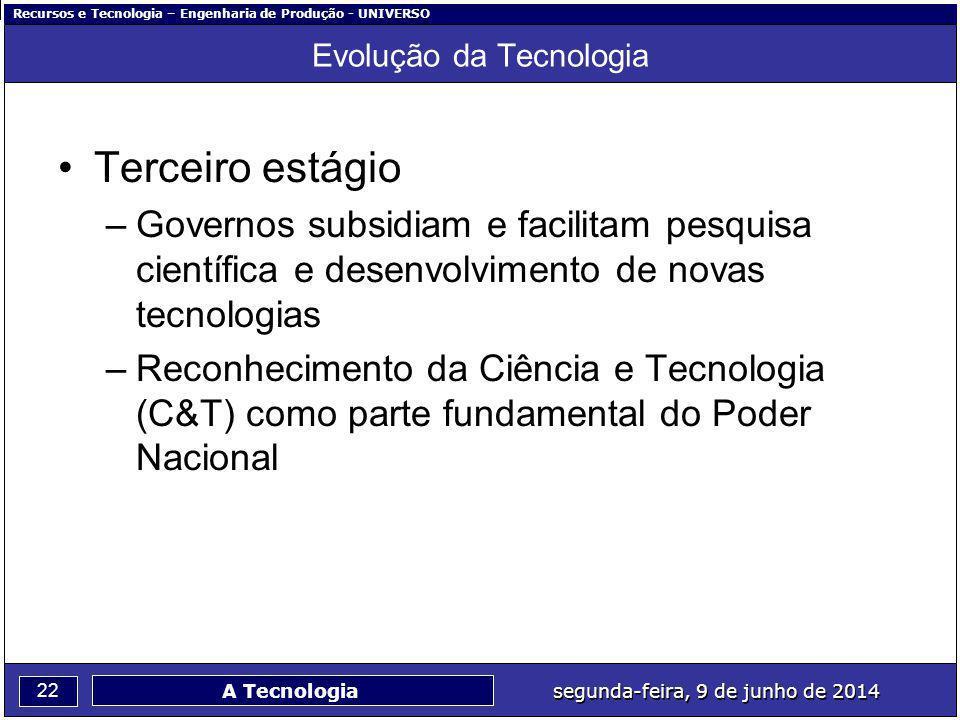 Recursos e Tecnologia – Engenharia de Produção - UNIVERSO 22 segunda-feira, 9 de junho de 2014 A Tecnologia Evolução da Tecnologia Terceiro estágio –G