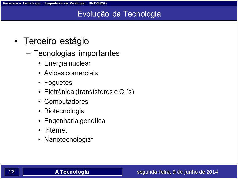 Recursos e Tecnologia – Engenharia de Produção - UNIVERSO 23 segunda-feira, 9 de junho de 2014 A Tecnologia Evolução da Tecnologia Terceiro estágio –T
