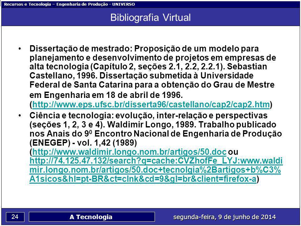 Recursos e Tecnologia – Engenharia de Produção - UNIVERSO 24 segunda-feira, 9 de junho de 2014 A Tecnologia Bibliografia Virtual Dissertação de mestra