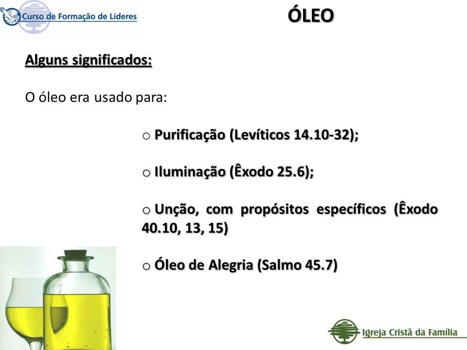 Alguns significados: O óleo era usado para: Purificação (Levíticos 14.10-32); o Purificação (Levíticos 14.10-32); o Iluminação (Êxodo 25.6); o Unção,