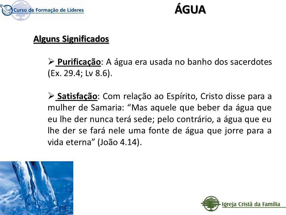 Alguns Significados Purificação: A água era usada no banho dos sacerdotes (Ex. 29.4; Lv 8.6). Satisfação: Com relação ao Espírito, Cristo disse para a