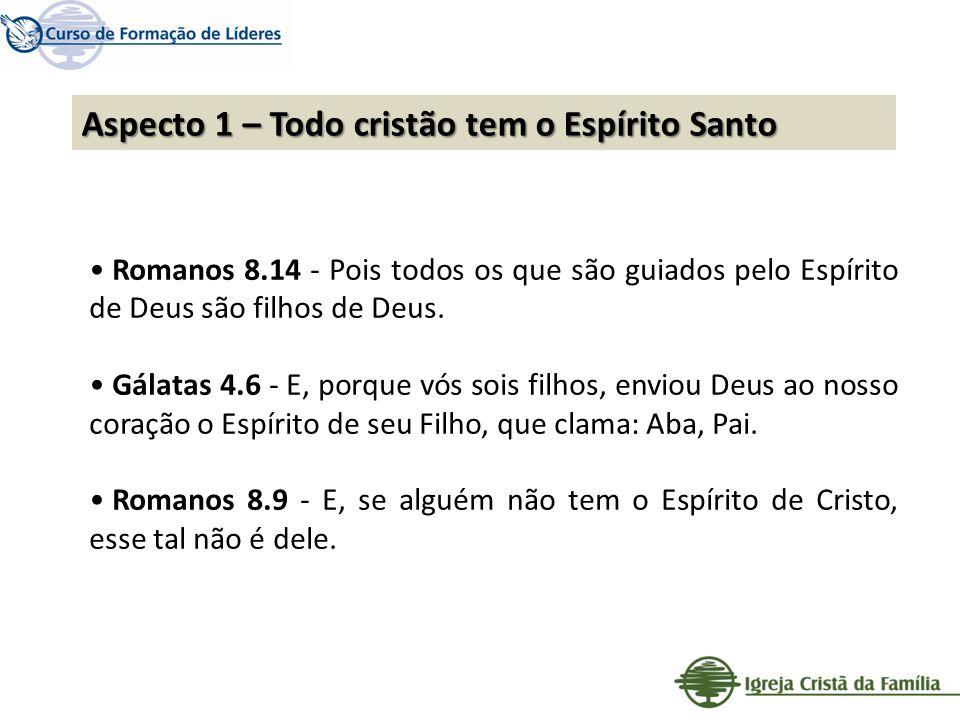 Aspecto 1 – Todo cristão tem o Espírito Santo Romanos 8.14 - Pois todos os que são guiados pelo Espírito de Deus são filhos de Deus. Gálatas 4.6 - E,