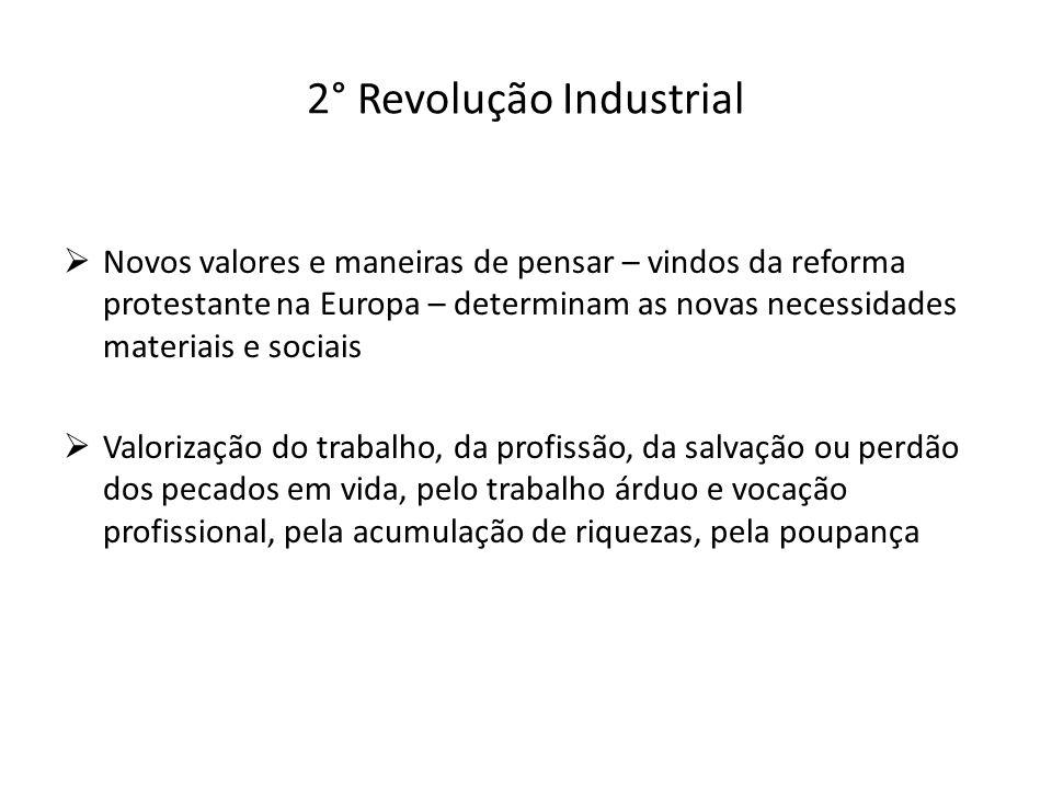 2° Revolução Industrial Novos valores e maneiras de pensar – vindos da reforma protestante na Europa – determinam as novas necessidades materiais e so