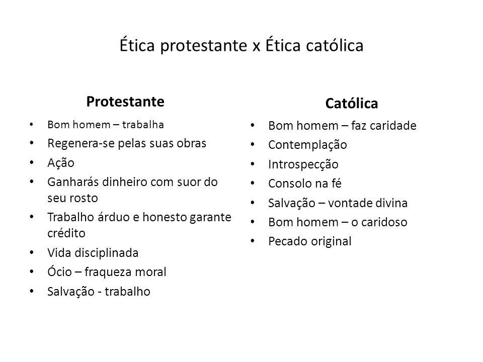 Ética protestante x Ética católica Protestante Bom homem – trabalha Regenera-se pelas suas obras Ação Ganharás dinheiro com suor do seu rosto Trabalho