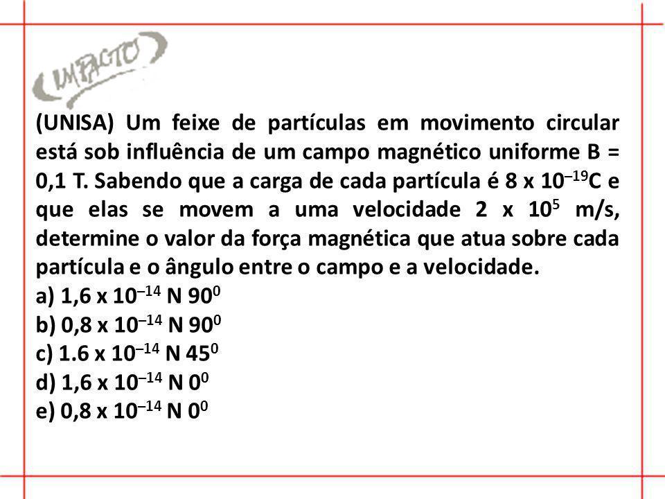 (UNISA) Um feixe de partículas em movimento circular está sob influência de um campo magnético uniforme B = 0,1 T.