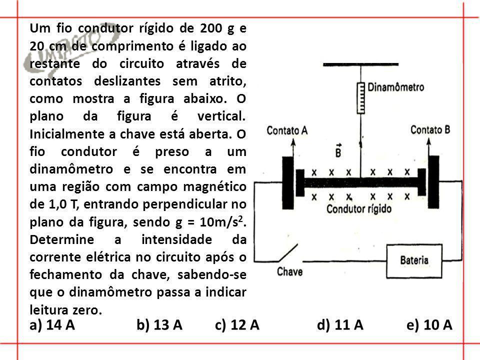 a) 14 A b) 13 A c) 12 A d) 11 A e) 10 A Um fio condutor rígido de 200 g e 20 cm de comprimento é ligado ao restante do circuito através de contatos deslizantes sem atrito, como mostra a figura abaixo.