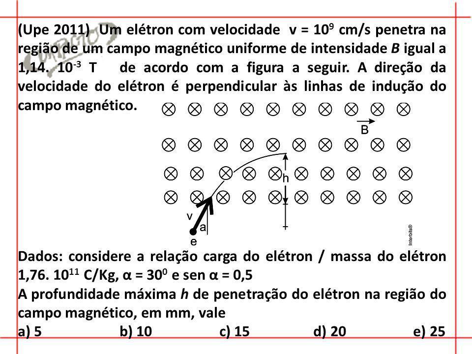 (Upe 2011) Um elétron com velocidade v = 10 9 cm/s penetra na região de um campo magnético uniforme de intensidade B igual a 1,14.