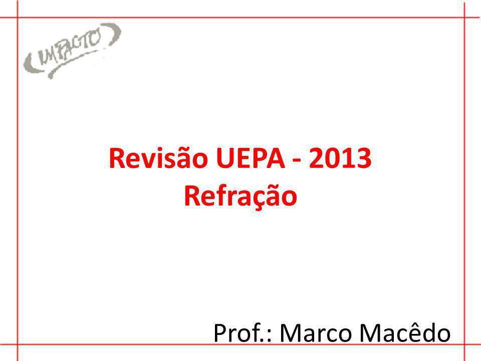 Revisão UEPA - 2013 Refração Prof.: Marco Macêdo