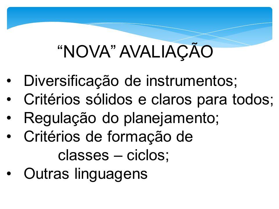NOVA AVALIAÇÃO Diversificação de instrumentos; Critérios sólidos e claros para todos ; Regulação do planejamento; Critérios de formação de classes – c