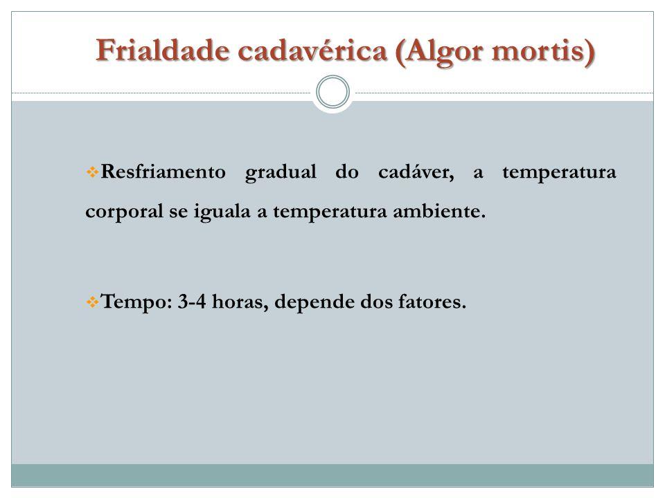 Resfriamento gradual do cadáver, a temperatura corporal se iguala a temperatura ambiente.