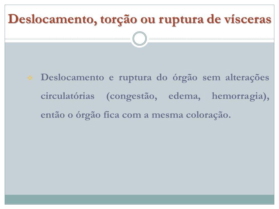 Deslocamento e ruptura do órgão sem alterações circulatórias (congestão, edema, hemorragia), então o órgão fica com a mesma coloração.