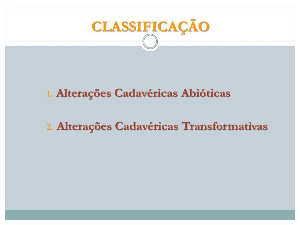 CLASSIFICAÇÃO CLASSIFICAÇÃO Alterações Cadavéricas Abióticas 1.
