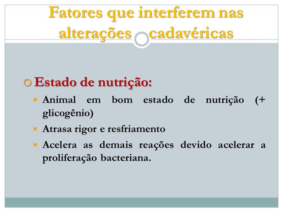 Estado de nutrição: Estado de nutrição: Animal em bom estado de nutrição (+ glicogênio) Atrasa rigor e resfriamento Acelera as demais reações devido acelerar a proliferação bacteriana.