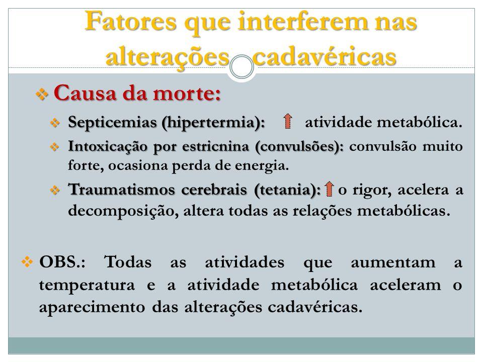 Causa da morte: Causa da morte: Septicemias (hipertermia): Septicemias (hipertermia): atividade metabólica.