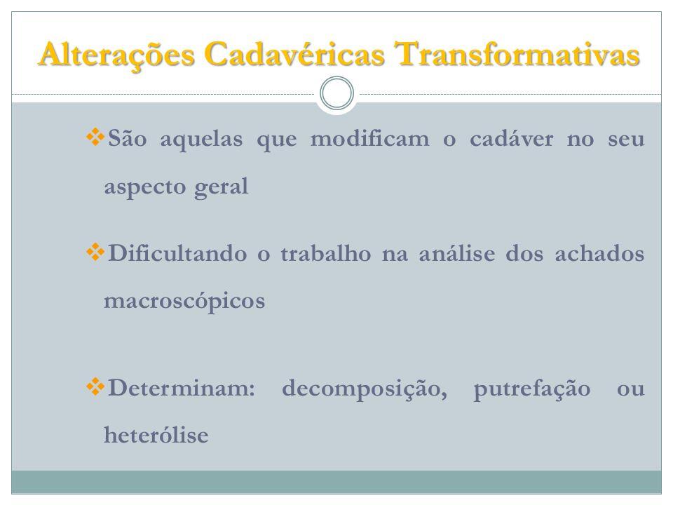 Alterações Cadavéricas Transformativas São aquelas que modificam o cadáver no seu aspecto geral Dificultando o trabalho na análise dos achados macroscópicos Determinam: decomposição, putrefação ou heterólise