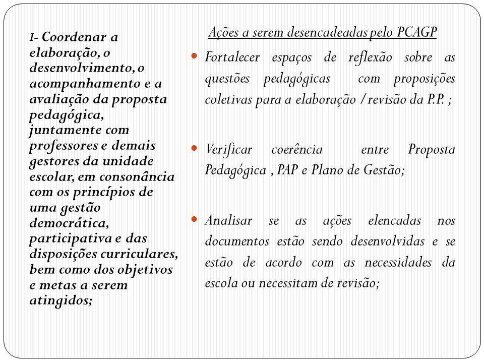 I- Coordenar a elaboração, o desenvolvimento, o acompanhamento e a avaliação da proposta pedagógica, juntamente com professores e demais gestores da u