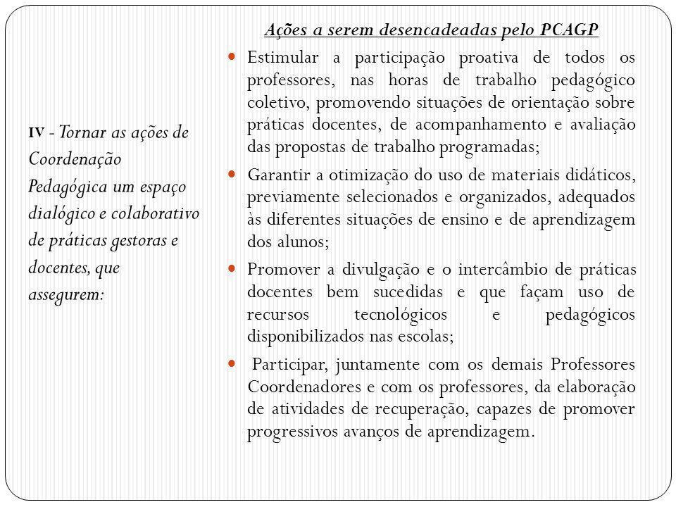 IV - Tornar as ações de Coordenação Pedagógica um espaço dialógico e colaborativo de práticas gestoras e docentes, que assegurem: Ações a serem desenc