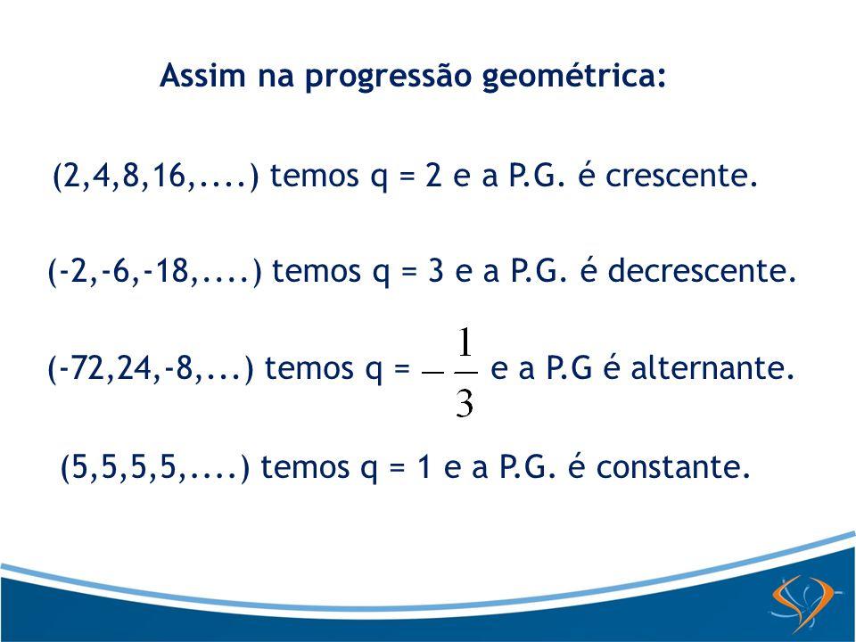 Assim na progressão geométrica: (2,4,8,16,....) temos q = 2 e a P.G. é crescente. (-2,-6,-18,....) temos q = 3 e a P.G. é decrescente. (-72,24,-8,...)