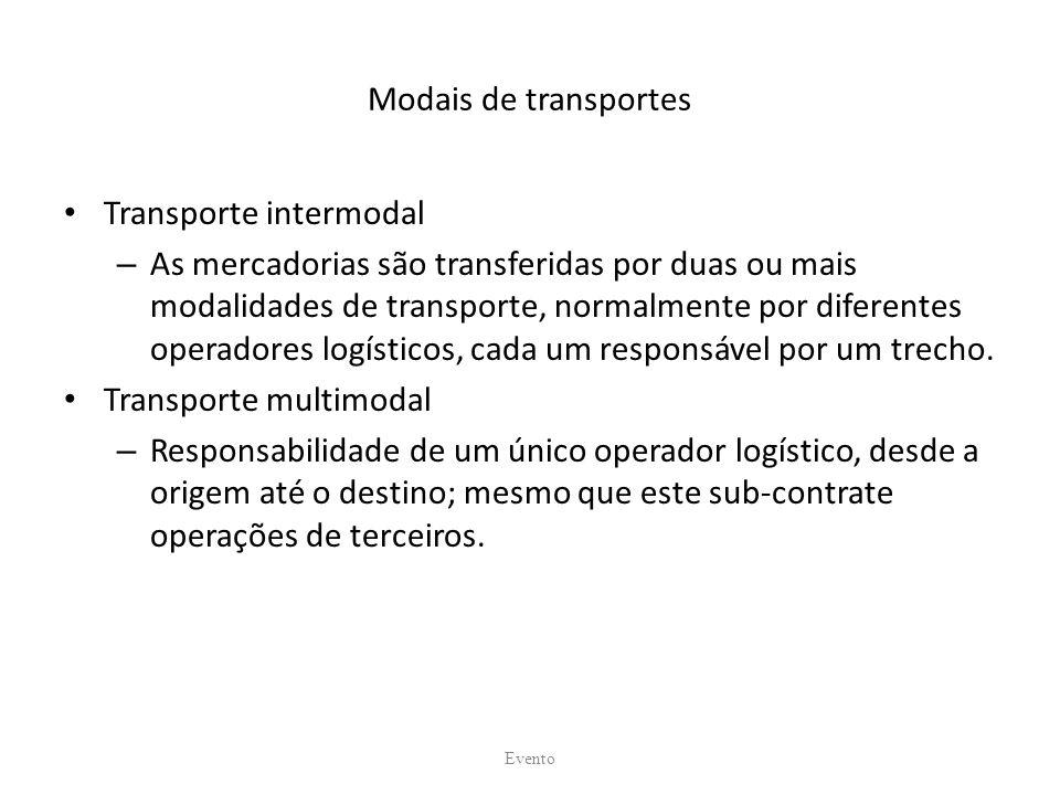 Modais de transportes Transporte intermodal – As mercadorias são transferidas por duas ou mais modalidades de transporte, normalmente por diferentes operadores logísticos, cada um responsável por um trecho.