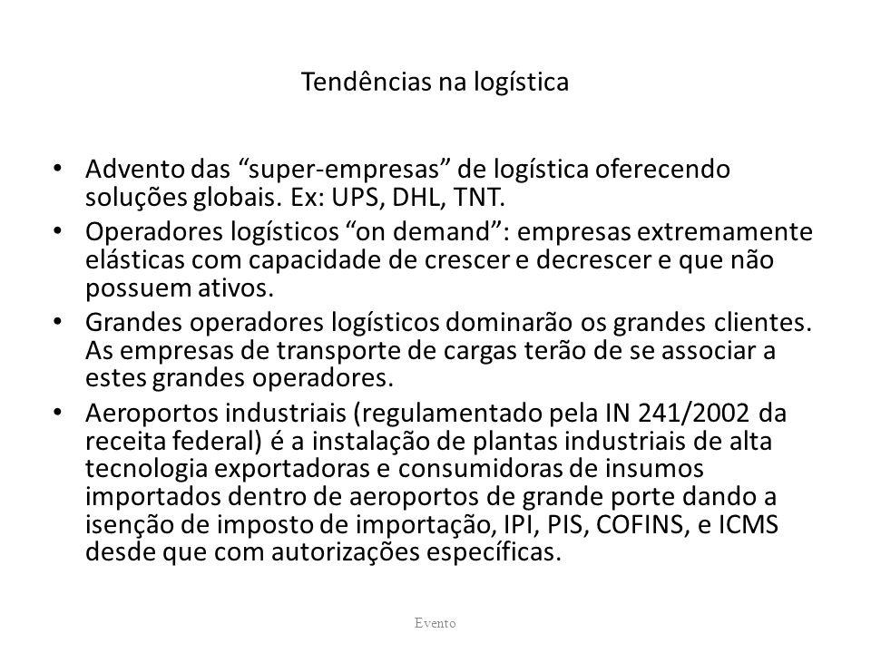 Tendências na logística Advento das super-empresas de logística oferecendo soluções globais. Ex: UPS, DHL, TNT. Operadores logísticos on demand: empre