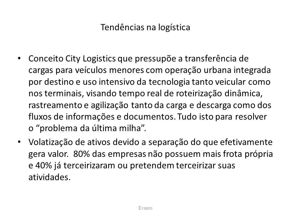 Tendências na logística Conceito City Logistics que pressupõe a transferência de cargas para veículos menores com operação urbana integrada por destin