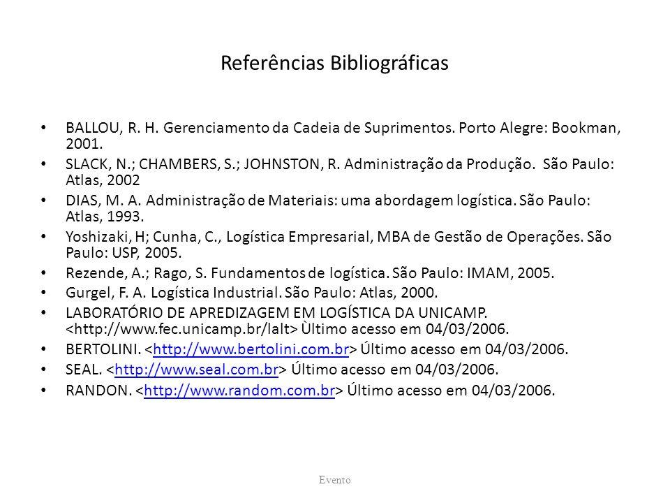 Referências Bibliográficas BALLOU, R. H. Gerenciamento da Cadeia de Suprimentos. Porto Alegre: Bookman, 2001. SLACK, N.; CHAMBERS, S.; JOHNSTON, R. Ad