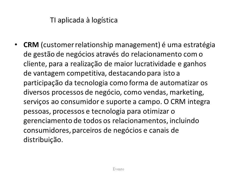 TI aplicada à logística CRM (customer relationship management) é uma estratégia de gestão de negócios através do relacionamento com o cliente, para a realização de maior lucratividade e ganhos de vantagem competitiva, destacando para isto a participação da tecnologia como forma de automatizar os diversos processos de negócio, como vendas, marketing, serviços ao consumidor e suporte a campo.