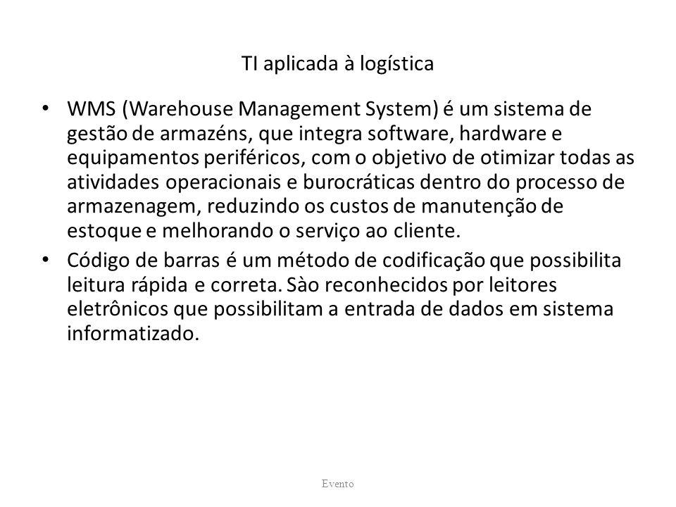 TI aplicada à logística WMS (Warehouse Management System) é um sistema de gestão de armazéns, que integra software, hardware e equipamentos periféricos, com o objetivo de otimizar todas as atividades operacionais e burocráticas dentro do processo de armazenagem, reduzindo os custos de manutenção de estoque e melhorando o serviço ao cliente.
