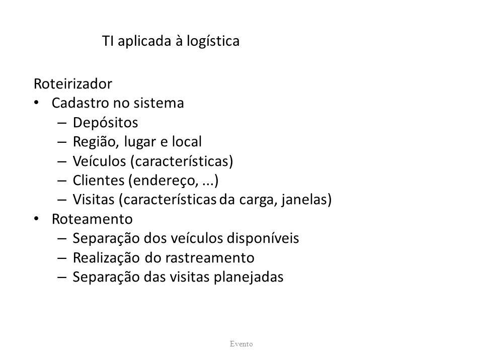 TI aplicada à logística Roteirizador Cadastro no sistema – Depósitos – Região, lugar e local – Veículos (características) – Clientes (endereço,...) –