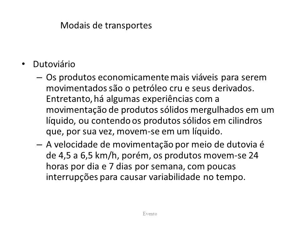 Modais de transportes Dutoviário – Os produtos economicamente mais viáveis para serem movimentados são o petróleo cru e seus derivados. Entretanto, há