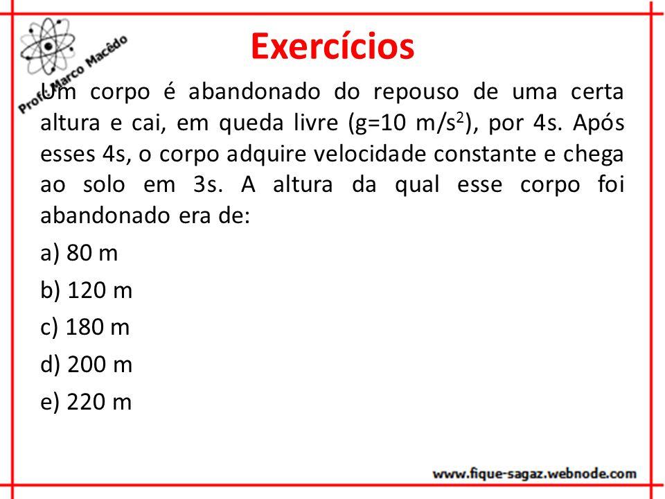Exercícios Um corpo é abandonado do repouso de uma certa altura e cai, em queda livre (g=10 m/s 2 ), por 4s. Após esses 4s, o corpo adquire velocidade