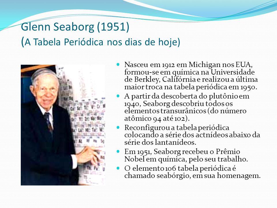 Glenn Seaborg (1951) ( A Tabela Periódica nos dias de hoje) Nasceu em 1912 em Michigan nos EUA, formou-se em química na Universidade de Berkley, Calif