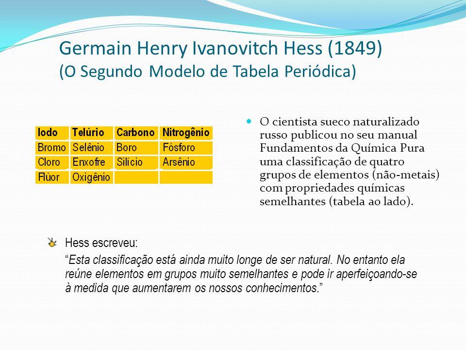 Alexander Beguyer de Chancourtoir (1862) (O Terceiro Modelo de Tabela Periódica) O químico e geólogo francês propôs um sistema denominado parafuso telúrico.