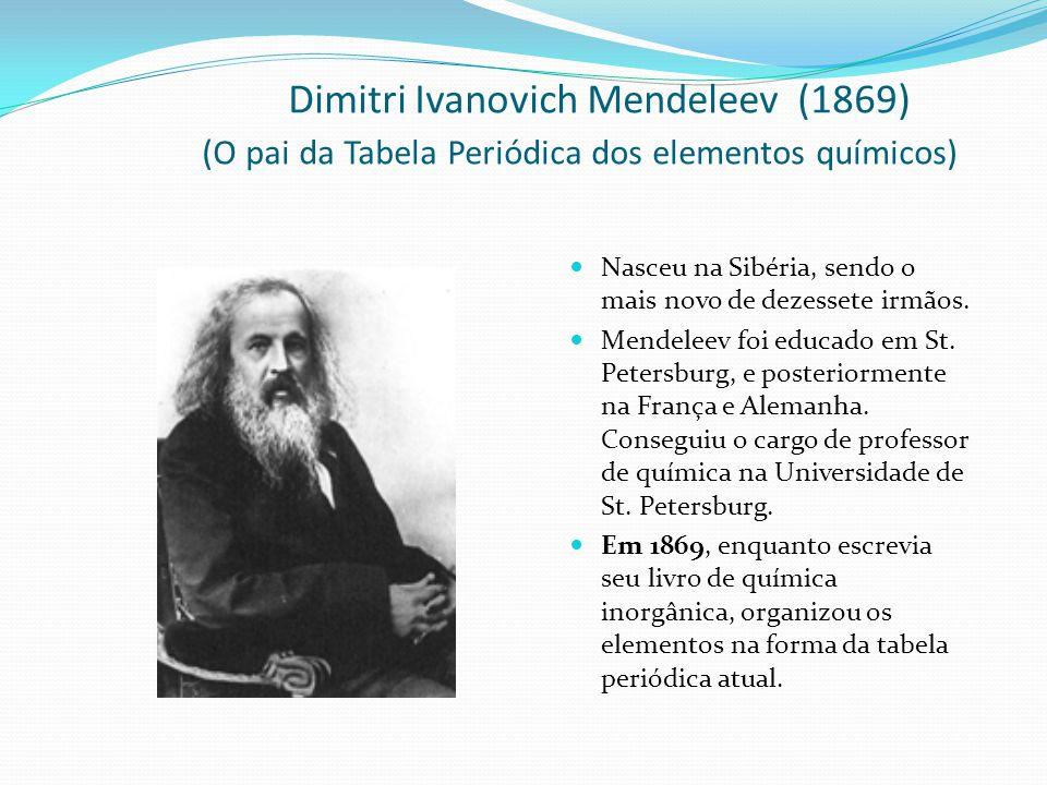 Mendeleev criou uma carta para cada um dos 63 elementos conhecidos.