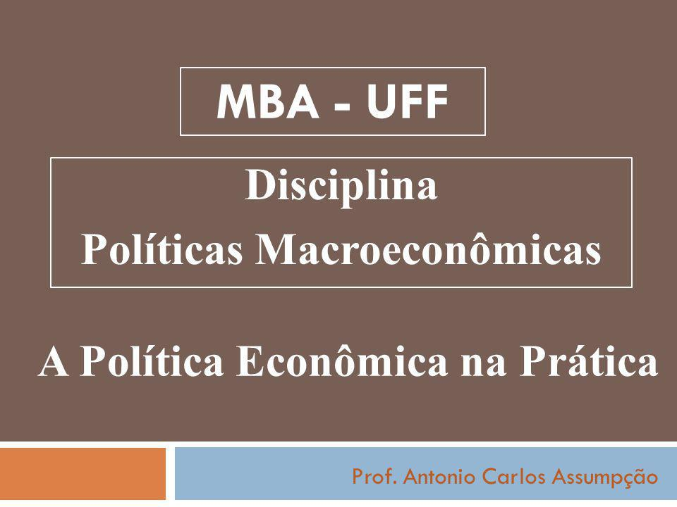 MBA - UFF Prof. Antonio Carlos Assumpção A Política Econômica na Prática Disciplina Políticas Macroeconômicas