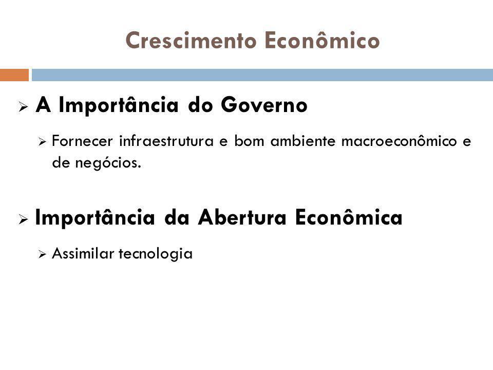 A Importância do Governo Fornecer infraestrutura e bom ambiente macroeconômico e de negócios. Importância da Abertura Econômica Assimilar tecnologia C