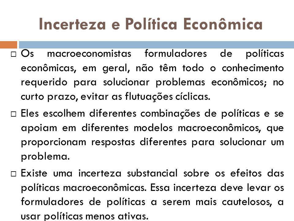 Incerteza e Política Econômica Os macroeconomistas formuladores de políticas econômicas, em geral, não têm todo o conhecimento requerido para solucion