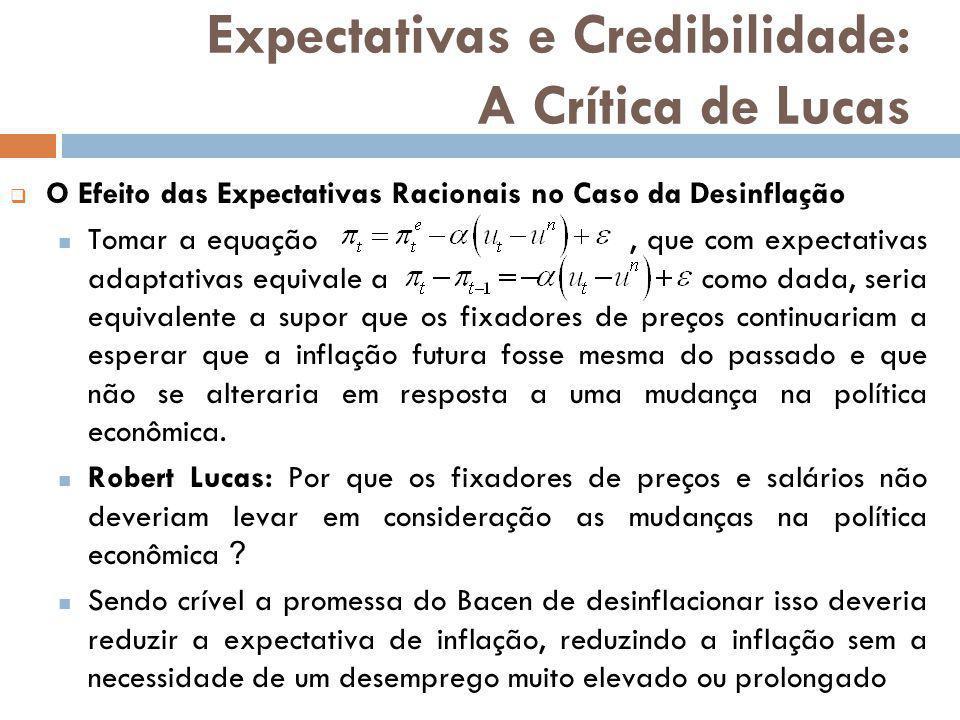 O Efeito das Expectativas Racionais no Caso da Desinflação Tomar a equação, que com expectativas adaptativas equivale a como dada, seria equivalente a