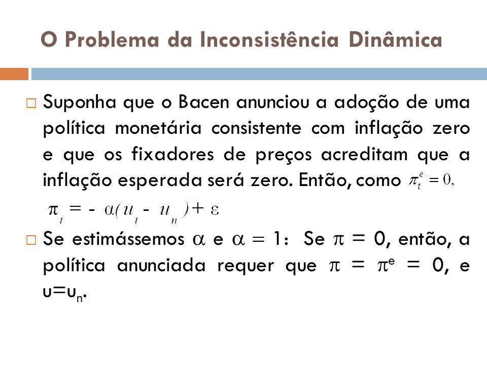 O Problema da Inconsistência Dinâmica Suponha que o Bacen anunciou a adoção de uma política monetária consistente com inflação zero e que os fixadores