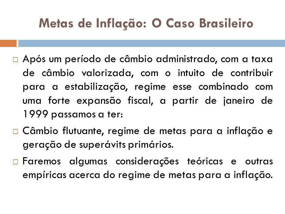 Metas de Inflação: O Caso Brasileiro Após um período de câmbio administrado, com a taxa de câmbio valorizada, com o intuito de contribuir para a estab