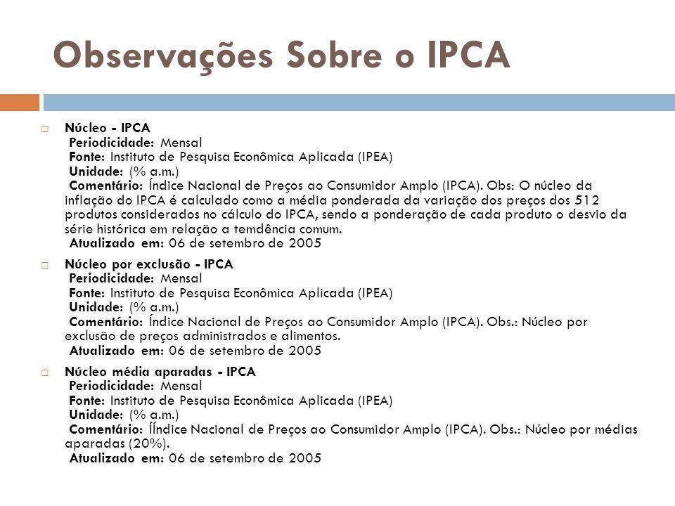 Observações Sobre o IPCA Núcleo - IPCA Periodicidade: Mensal Fonte: Instituto de Pesquisa Econômica Aplicada (IPEA) Unidade: (% a.m.) Comentário: Índi