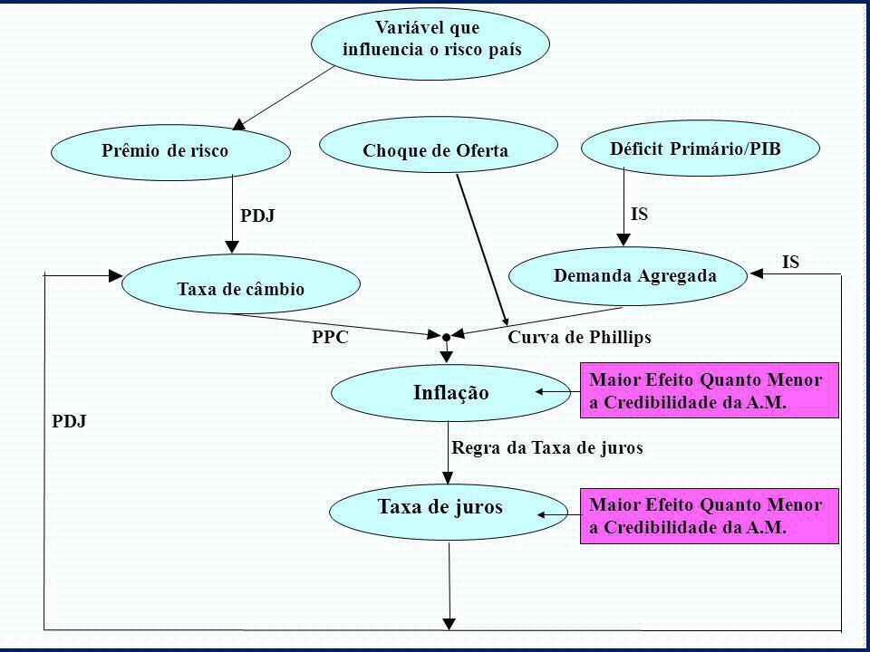 Demanda Agregada Déficit Primário/PIB Inflação Taxa de juros Taxa de câmbio Prêmio de risco Variável que influencia o risco país PDJ IS PDJ Curva de P