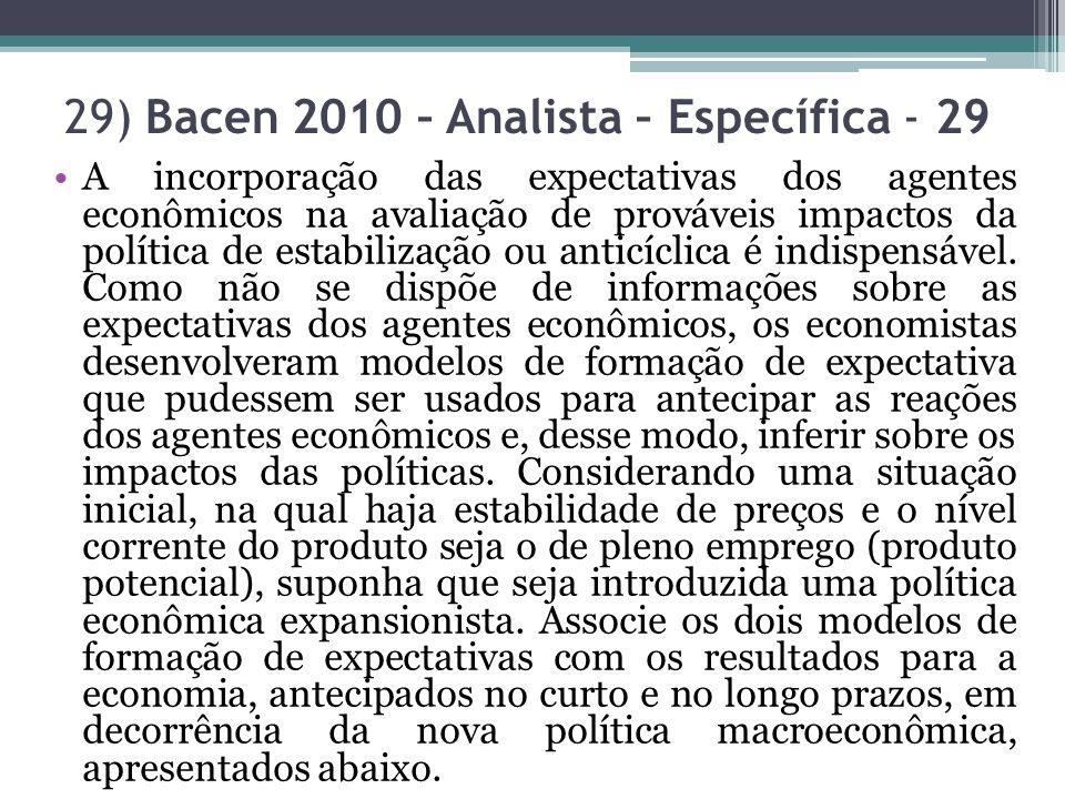 29) Bacen 2010 – Analista – Específica - 29 A incorporação das expectativas dos agentes econômicos na avaliação de prováveis impactos da política de e