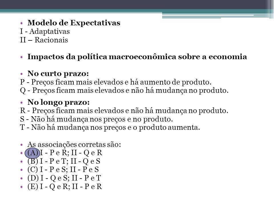 Modelo de Expectativas I - Adaptativas II – Racionais Impactos da política macroeconômica sobre a economia No curto prazo: P - Preços ficam mais elevados e há aumento de produto.